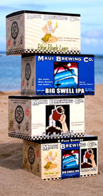 Maui Brewing Co.'s beers on the sand in Hawaii