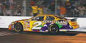 A racecar decked with the Bennett Lane logo