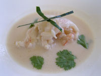 Thai Langoustine Soup brings out the Champagne's fruity notes