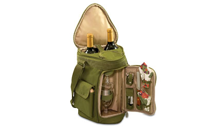 Picnic Time Meritage Wine and Cheese Tote in olive green