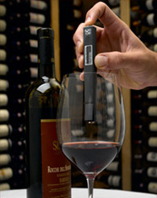 Nuvo Vino wine thermometer in use