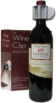 The Wine Clip draws out flavor and aroma from your wine with magical magnetism.
