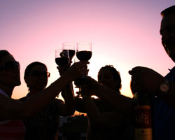 A group of people offering a toast with their wine glasses during a sunset