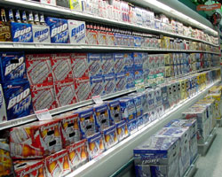 Cases of beer at a supermarket