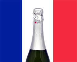 A bottle of Champagne in front of the French national colors