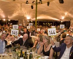 Guests raise their auction paddles during the bidding at Auction Napa Valley