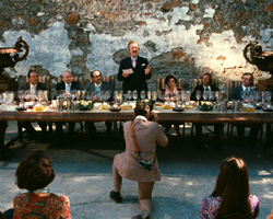"Bottle Shock's rendition of Steven Spurrier (Alan Rickman) hosting the 1976 ""Judgment of Paris"""