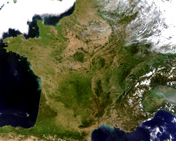 France seen from Earth's orbit