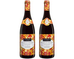 Two bottles of Georges Duboeuf's 2008 Beaujolais Nouveau