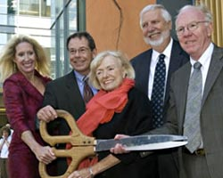 Margrit Mondavi surrounded by UC Davis officials