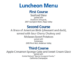 The menu for the luncheon celebrating President Obama's inauguration