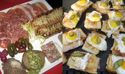 Begin a party with appetizer plates like cold meats, olives, pate and grilled toast