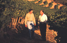Rich and son Paul in the vineyard