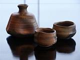 A clay sake set