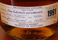 Each label of The Glenrothes 1991 features handwritten tasting notes