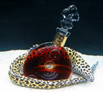 A moray eel guards a bottle of Louis XIII de Remy Martin