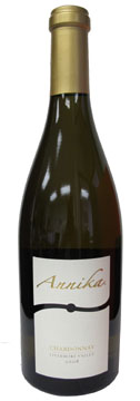 A bottle of Annika Vineyards 2008 Chardonnay, our Wine of the Week review