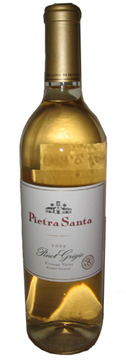 A bottle of Pietra Santa Winery 2009 Pinot Grigio, our Wine of the Week review