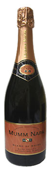 Bottle of Mumm Napa Blanc de Noirs sparkling wine